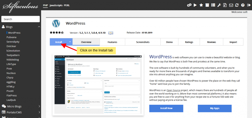 Install WordPress 5.1.x for PHP less than 5.6.20