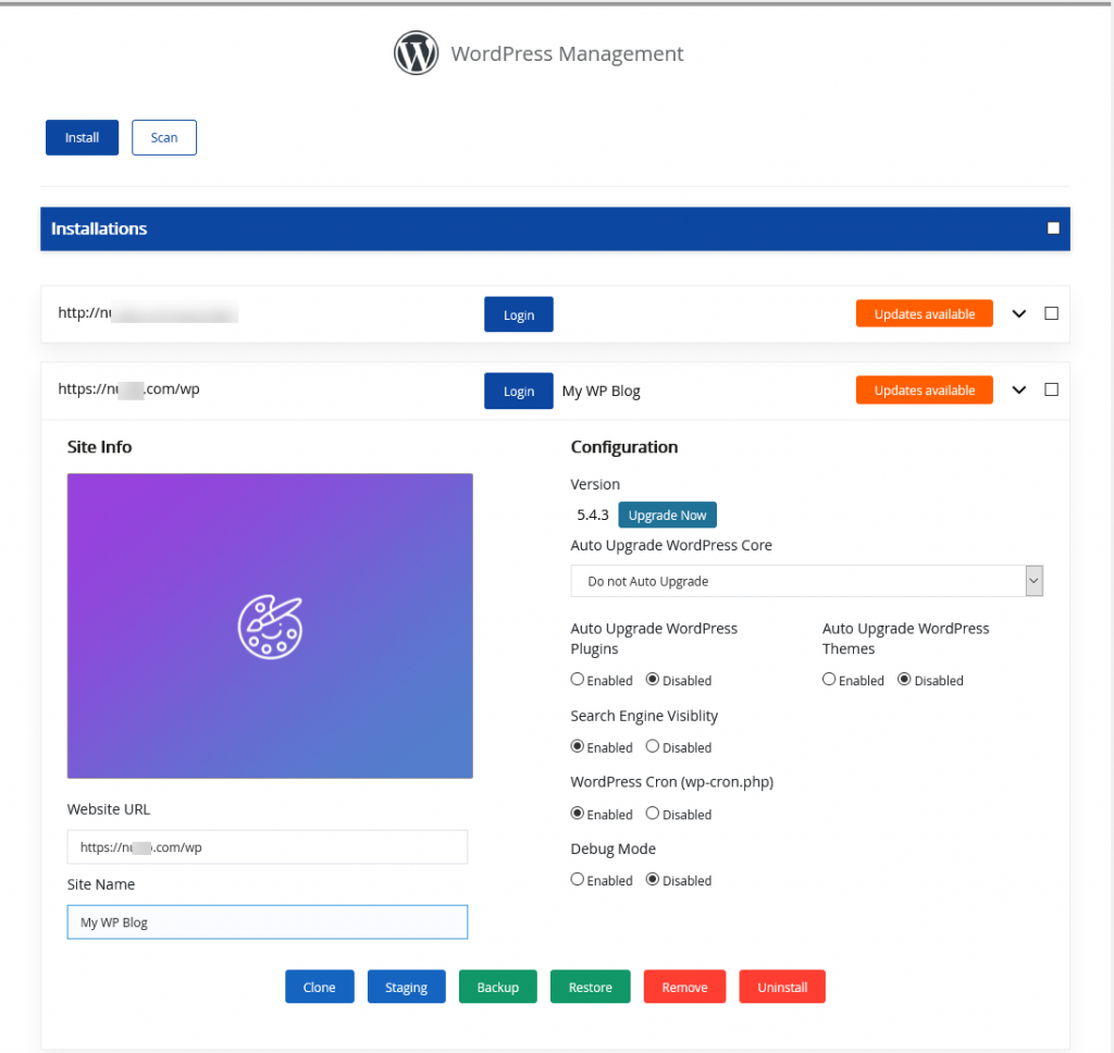 WordPress Manager Screenshot